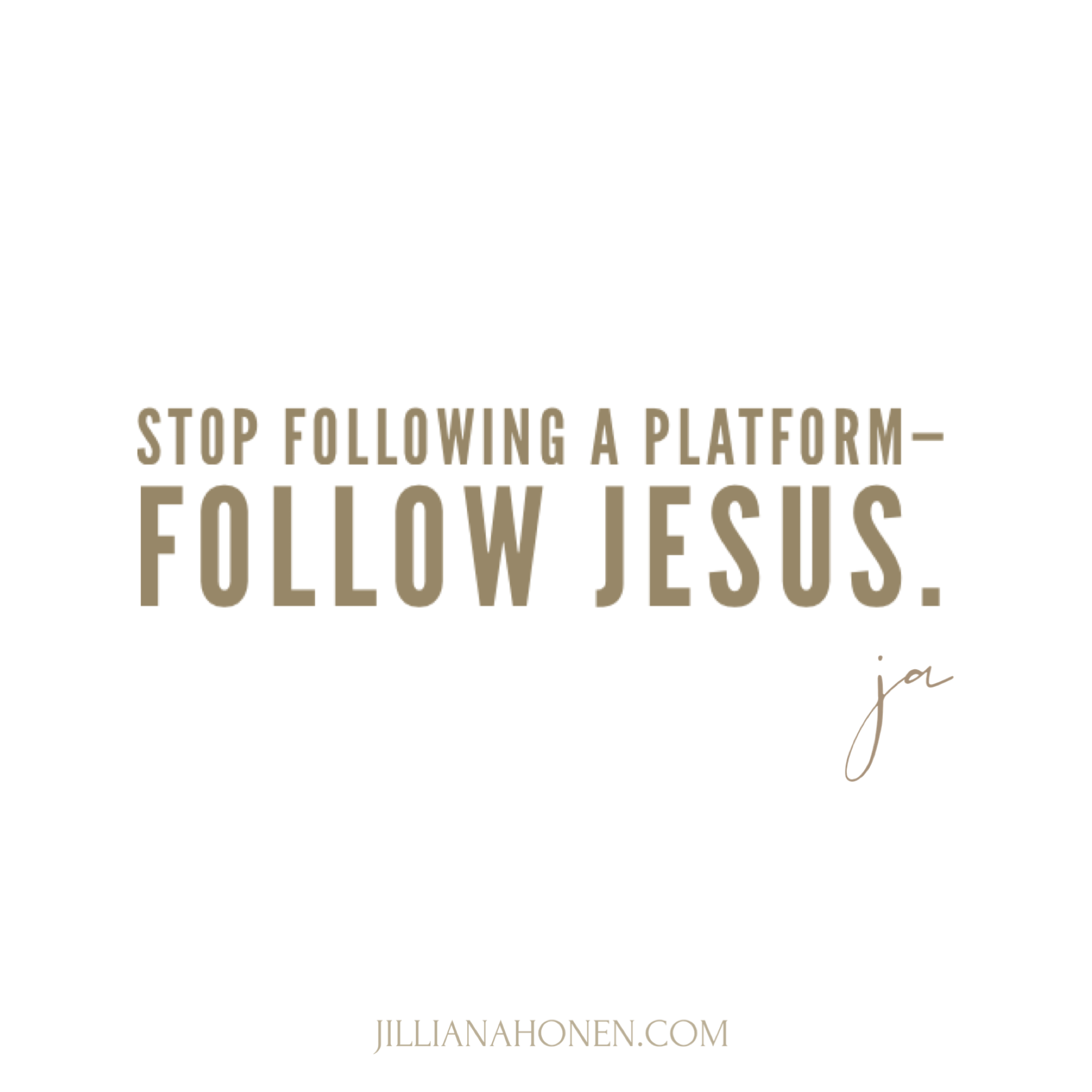 You are currently viewing Follow Jesus Not a Platform